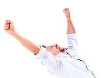 Erfolgreicher Mann mit den Armen oben Lizenzfreies Stockbild