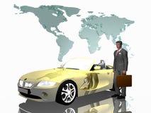 Erfolgreicher Verkäufer mit seinem Auto, über Weiß. Lizenzfreie Stockfotos