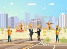 Erfolgreiches Bauvorhaben-Vektor-Konzept stock abbildung