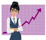 Erfolgreiches Geschäftsfrau-Diagramm Lizenzfreie Stockfotos