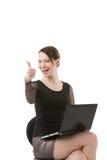 Erfolgreiches Geschäftsfraugeben Daumen oben Stockbilder