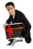 Erfolgreiches Geschäftsmannkaufüberwachungsgerät. Stockfotos