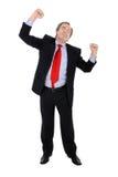 Erfolgreiches Geschäftsmannzujubeln Stockbild