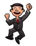 Erfolgreiches glückliches Geschäftsmannspringen Lizenzfreies Stockfoto