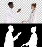 Erfolgreiches Team von den Chirurgen, die hoch fünf geben und von Lachen lokalisiert auf weißem Hintergrund, Alpha Channel stockfotos