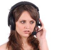 Erfolgreiches weibliches Aufrufmitteangestelltsprechen Stockbild