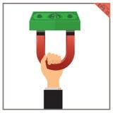 Erfolgseinkommenskonzept-Illustrationsgeschäft des Magnetgeldes gesetztes Lizenzfreies Stockbild