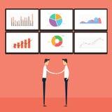 Erfolgsgeschäftsleute auf Geschäftsdiagrammmonitor Lizenzfreie Stockbilder