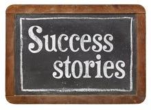 Erfolgsgeschichten auf Tafel Stockbild