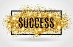 Erfolgsgoldfunkeln auf weißem Hintergrund Stockbild