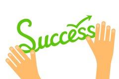 Erfolgskonzept infographic mit der Hand gezeichnet, Wort und Hände beschriftend Stockfotografie