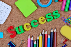 Erfolgswort auf Korkenvorstand Lizenzfreie Stockfotos
