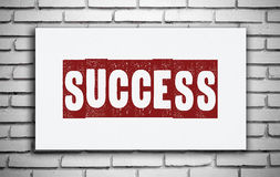 Erfolgswort auf weißem Brett, Inspiration Stockfoto