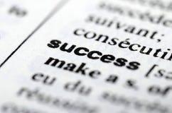Erfolgswort im Wörterbuch, Abschluss oben Stockbild
