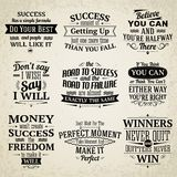 Erfolgszitate eingestellt Stockbilder