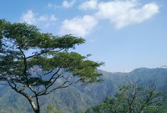 Erforschen Sie die Berge in Indonesien lizenzfreies stockbild