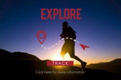 Erforschen Sie Erfahrungs-Reise-Reise-Reise-Ferien-Konzept lizenzfreies stockfoto