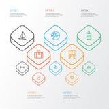 Erforschungs-Entwurfs-Ikonen eingestellt Sammlung Bettgestell, Gepäck, Taxi und andere Elemente Schließt auch Symbole wie ein Stockfoto