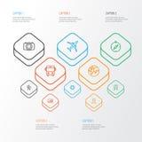 Erforschungs-Entwurfs-Ikonen eingestellt Sammlung Pfeile, Tram, Sunny And Other Elements Schließt auch Symbole wie Auto ein Stockbilder