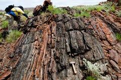 Erforschungs-Geologe auf dem Gebiet - Pilbara - Australien lizenzfreie stockfotografie