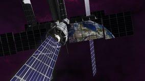 Erforschungssatellit in Bahn um Erde Stockbilder