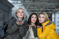 Erfreute Damen, die im Anschluss Abschied nehmen Stockfoto