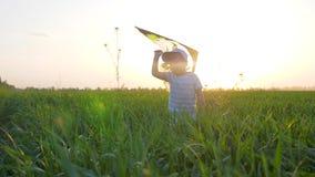 Erfreuter Kind-JUNGE mit Drachen in Arme läuft am grünen Gras im Sonnenlicht auf Hintergrundhimmel stock video