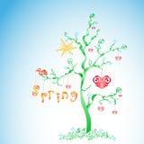 Fantasiefrühlingsbaum stock abbildung