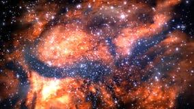 Erfundenes Sternfeld, Nebelflecke, Sonne und Galaxien Stockfoto