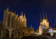 Erfurt Cathedral. Two cathedrals on a mountain at night in Erfurt, Germany royalty free stock images