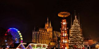 Erfurt christmas market. Erfurt in Germany, the christmas market royalty free stock photo