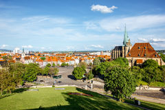 Erfurt city in Germany. Cityscape view on Erfurt city with St. Mary Domberg cathedral in Germany royalty free stock image