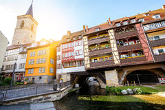 Erfurt city in Germany. Morning view on the famous Merchants bridge in Erfurt city, Germany stock photography