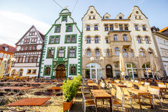 Erfurt city in Germany. View on the beautiful medieval buildings at the old town of Erfurt city, Germany royalty free stock photos