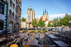 Erfurt city in Germany. View on the main square with Mary Domberg cathedral and cafe terrace at the old town of Erfurt city, Germany Stock Photos