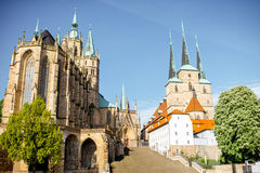 Erfurt city in Germany. View on the main square with Mary Domberg cathedral at the old town of Erfurt city, Germany stock images