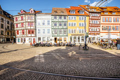 Erfurt city in Germany. View on the medieval half-timbered buildings at the old town of Erfurt city, Germany stock image