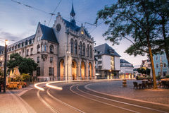 Erfurt City hall. With lights of a car passing by Royalty Free Stock Photo