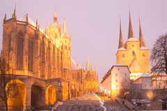 Erfurt - Germany. Erfurt, Germany. January 24, 2014: St Mary's Cathedral (left) and St Severus' Church (right) on Domberg hill Stock Photography