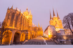 Erfurt - Germany. Erfurt, Germany. January 24, 2014: St Mary's Cathedral (left) and St Severus' Church (right) on Domberg hill Royalty Free Stock Image