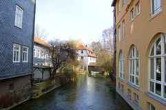 Erfurt Homes on a Gera River Estuary Stock Image