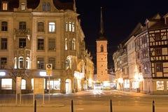 Erfurt markstraße at night with tram stock photography