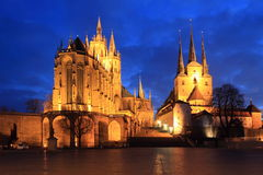 Erfurt at night. Erfurt Cathedral (left) and St. Severus Church (right) at sunset, Germany stock photos