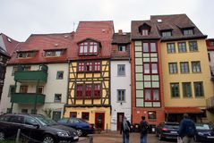 Erfurt, Thuringia, Germany - May 04, 2013: The fachwerk houses. In the Erfurt old town stock image