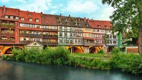 Erfurt Tyskland brokraemerbruecke royaltyfria bilder