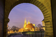Erfurter Dom in Germany. View on Erfurter Dom in Germany in the evening stock photo