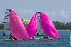 49erFXs downwind på ISAF-världscupserien i Miami Royaltyfri Bild