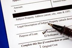 Ergänzen Sie das Antrag auf Hypothekendarlehenformular Stockfoto