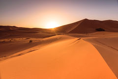 Erg Chebbi dunes sunrise, Morocco Royalty Free Stock Image