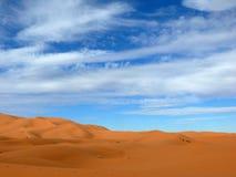 The Erg Chebbi Sahara Desert of Morocco. The sand dunes of the Erg Chebbi Sahara desert of Morocco during winter Royalty Free Stock Image